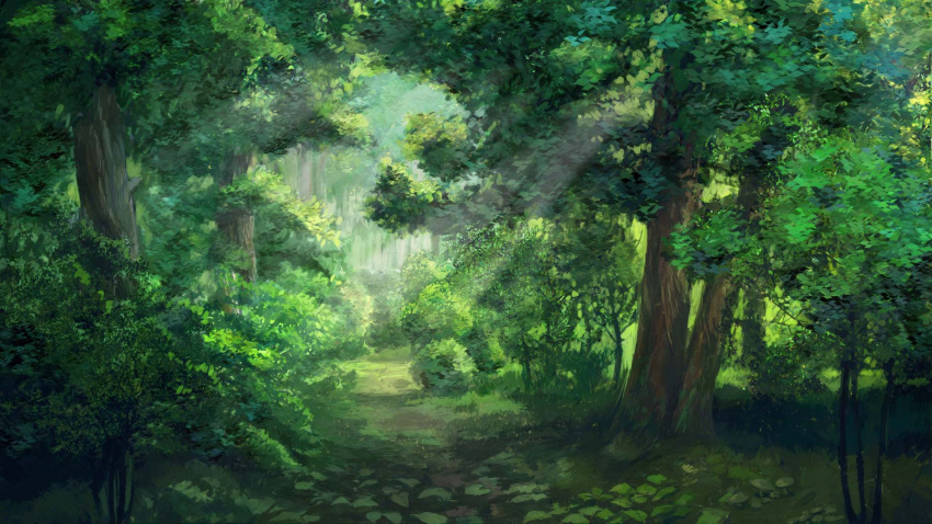 arsenixc bush commentary day everlasting_summer forest grass highres nature no_humans outdoors path plant road scenery sunlight tree