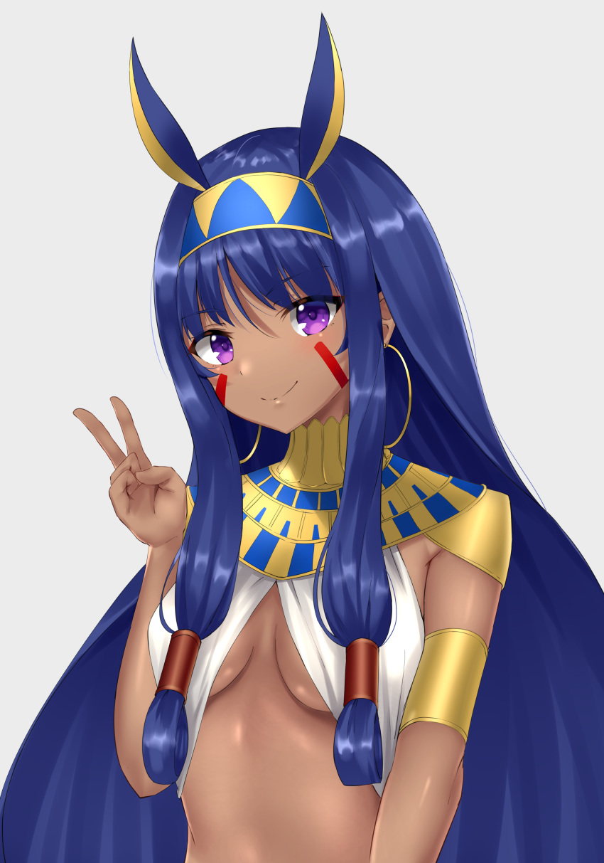 1girl absurdres breasts closed_mouth dark_skin earrings eyebrows_visible_through_hair fate/grand_order fate_(series) highres hoop_earrings jewelry looking_at_viewer medium_breasts nitocris_(fate/grand_order) phano_(125042) purple_hair smile solo upper_body v violet_eyes