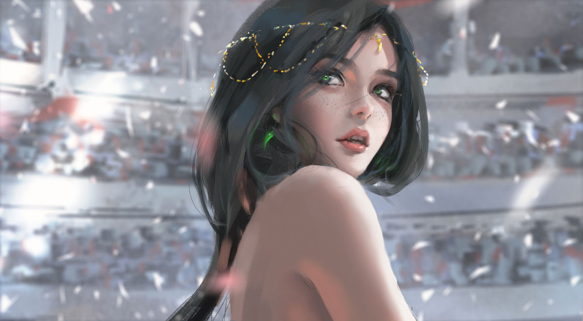 1girl bare_shoulders black_hair blurry blurry_background commentary_request crowd depth_of_field earrings freckles from_side green_eyes highres jewelry lipstick long_hair looking_afar looking_away looking_to_the_side makeup parted_lips red_lipstick solo_focus wlop