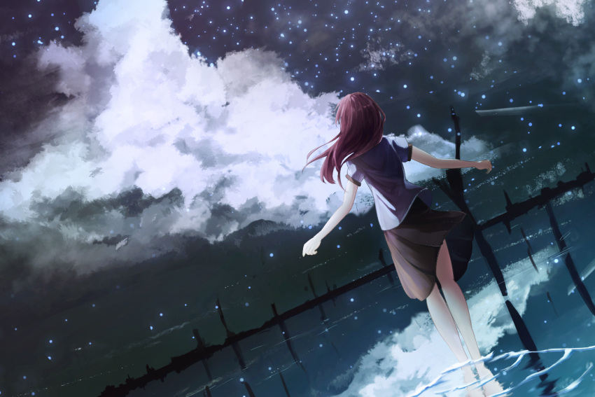 1girl barefoot black_skirt clouds cloudy_sky commentary_request dutch_angle from_behind hyoketu001 lake light_particles long_hair maroon_hair original outdoors reflection ripples scenery shirt short_sleeves skirt sky soaking_feet solo standing white_shirt