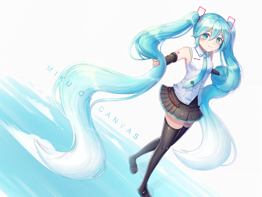 1girl absurdly_long_hair black_legwear black_skirt blue_eyes blue_hair blue_necktie blush breasts closed_mouth eyebrows_visible_through_hair hatsune_miku highres long_hair looking_at_viewer medium_breasts necktie seungju_lee skirt smile solo thigh-highs twintails very_long_hair vocaloid