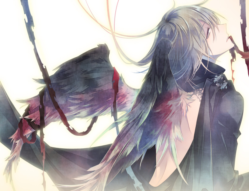 1boy bandage black_dress black_wings dress feathered_wings from_behind gradient gradient_background grey_eyes grey_hair kuroyuki long_hair looking_to_the_side male_focus mouth_hold open-back_dress original profile solo white_background wings