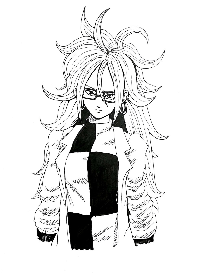 1girl android_21 black-framed_eyewear breasts curly_hair dragon_ball dragon_ball_fighterz dress earrings glasses highres hoop_earrings jewelry labcoat long_hair looking_at_viewer medium_breasts pantyhose solo