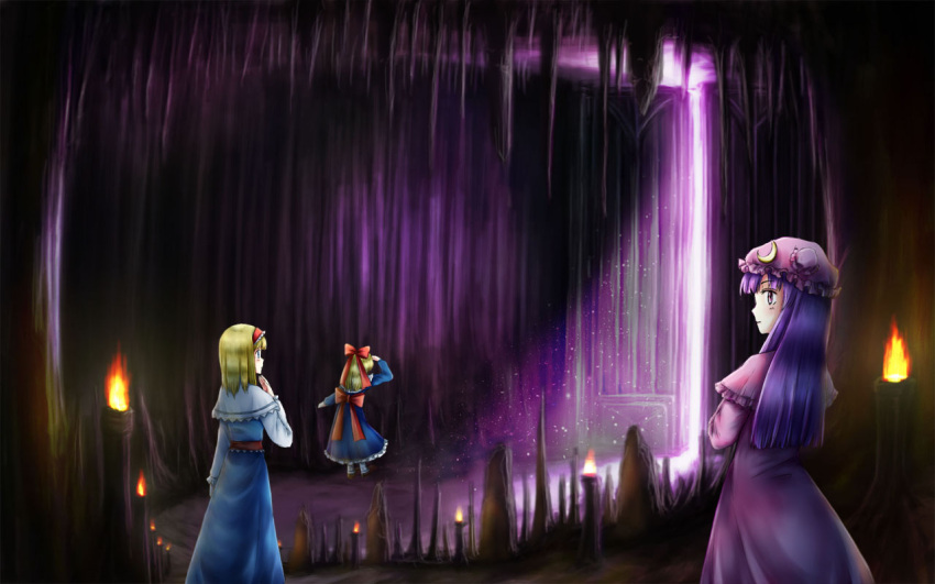 3girls aihashi_i alice_margatroid blonde_hair capelet cave crescent dress gate hat hat_ornament makai_(touhou) multiple_girls patchouli_knowledge purple_hair scenery shanghai_doll stalactite stalagmite torch touhou