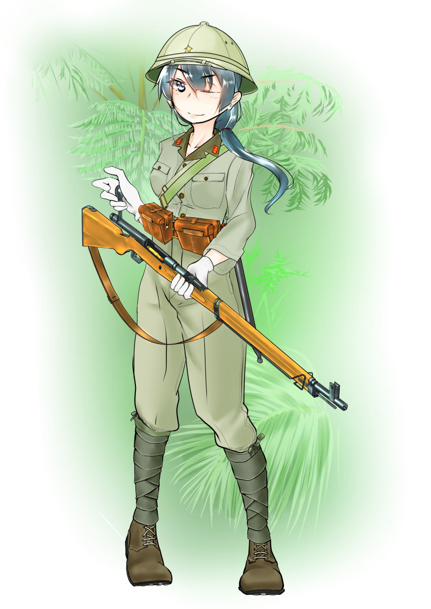 1girl absurdres ammunition army black_hair boots forest gun hawasabi346 helmet highres japanese leg_wraps military military_uniform nature one_eye_closed original ponytail rifle soldier solo star tree uniform weapon world_war_ii
