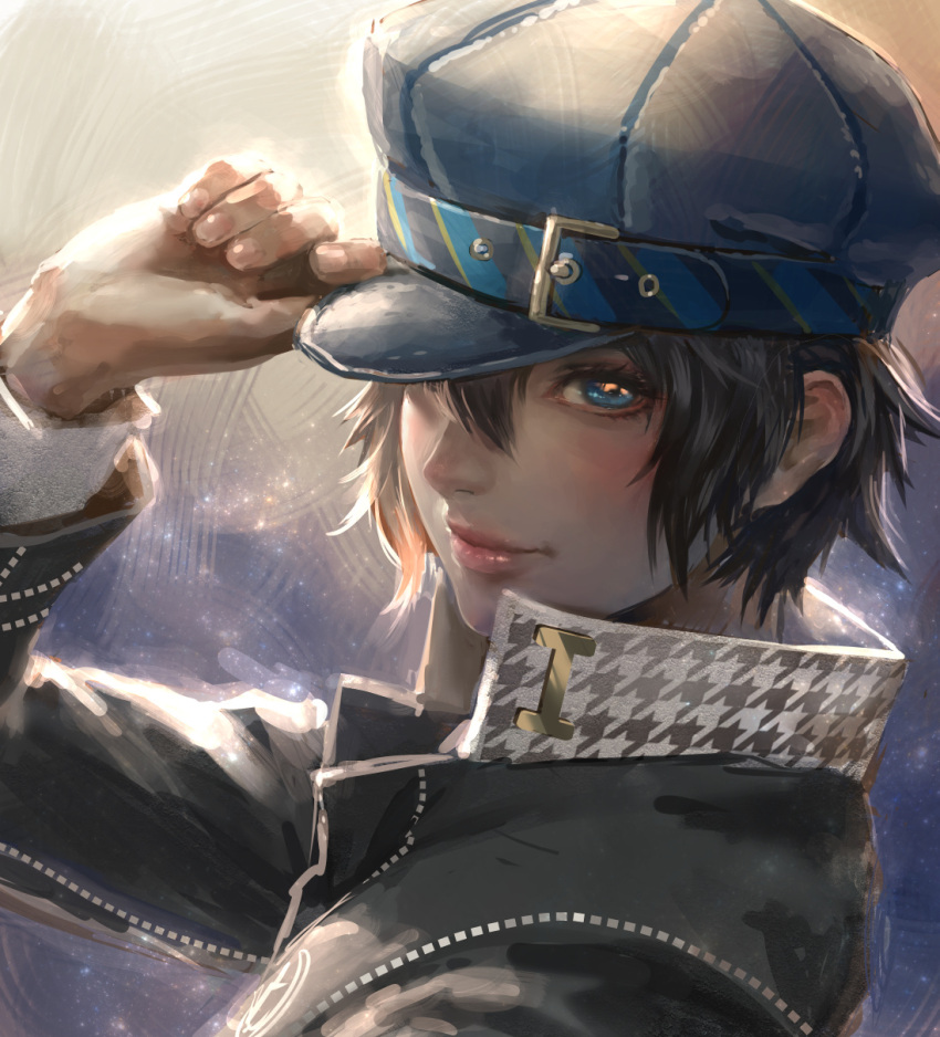 1girl black_hair blue_eyes cabbie_hat closed_mouth hair_between_eyes hand_on_headwear hand_up hat high_collar highres jacket kaburagi_yasutaka lips long_sleeves looking_at_viewer persona persona_4 shirogane_naoto short_hair smile solo upper_body