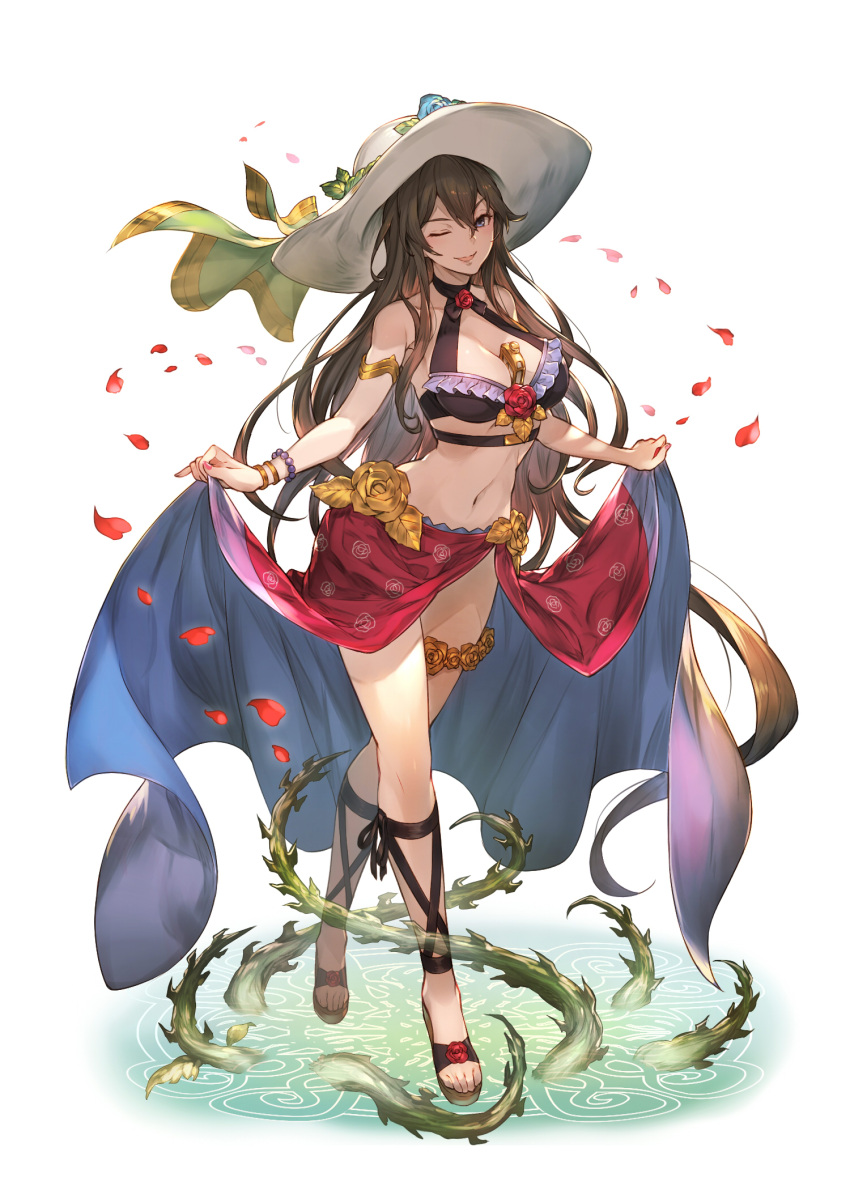 1girl armlet bare_shoulders between_breasts bikini bracelet brown_hair choker flower frilled_bikini frills granblue_fantasy grin groin hat hat_ribbon highres jewelry kakage long_hair looking_at_viewer nail_polish navel petals plant ribbon rose rosetta_(granblue_fantasy) sandals_barefoot sarong sarong_lift simple_background smile solo sun_hat swimsuit thigh_strap vines violet_eyes white_background