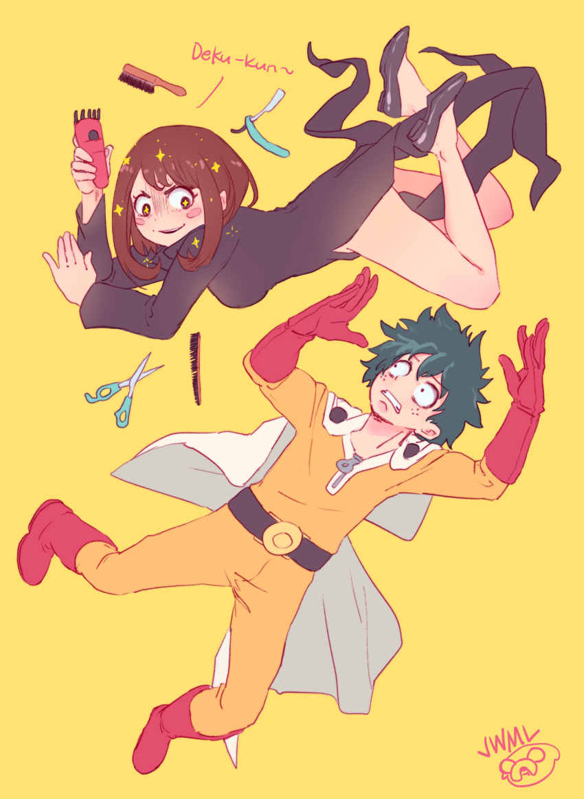 +_+ 1boy 1girl absurdres belt black_dress blush_stickers bodysuit boku_no_hero_academia boots brown_eyes brown_hair brush cape clenched_teeth comb cosplay dress electric_razor evil_grin evil_smile floating gloves green_hair grin high_heels highres justin_leyva_(steamy_tomato) long_hair long_sleeves looking_at_another midoriya_izuku one-punch_man razor red_footwear red_gloves saitama_(one-punch_man) saitama_(one-punch_man)_(cosplay) sanpaku scissors signature simple_background smile star star-shaped_pupils superhero symbol-shaped_pupils tatsumaki tatsumaki_(cosplay) teeth uraraka_ochako white_cape wide-eyed worried yellow_background yellow_bodysuit