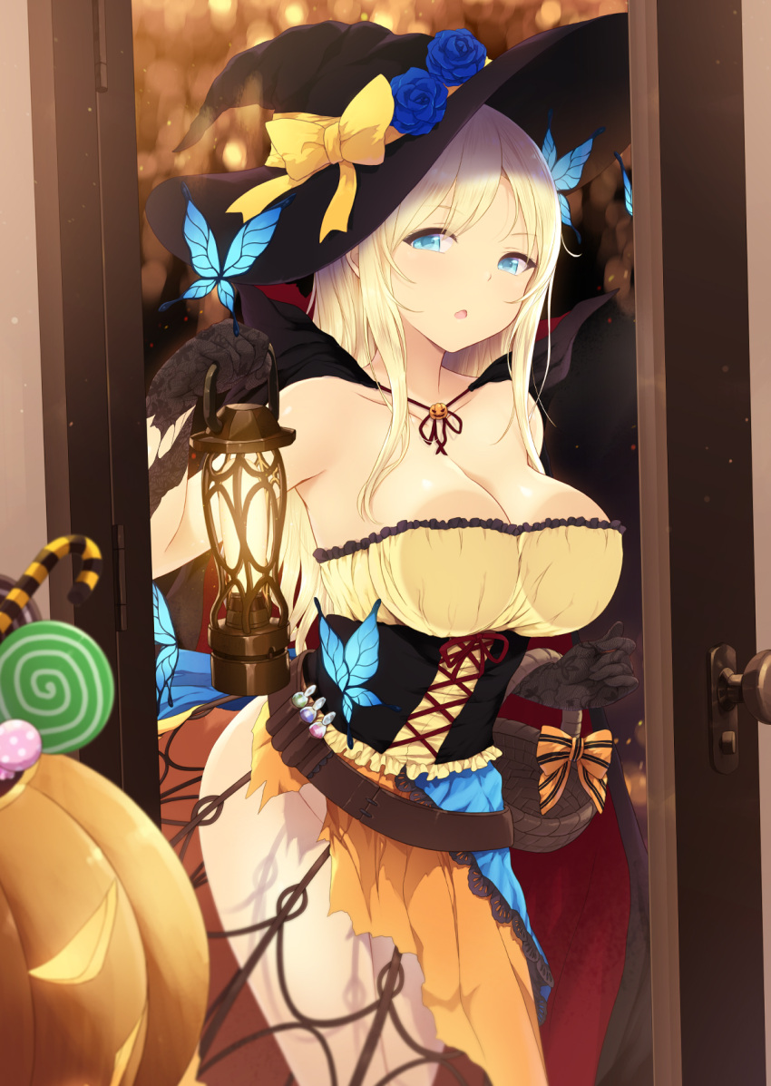 1girl :o against_glass bare_shoulders basket belt black_gloves black_hat blonde_hair blue_eyes boku_wa_tomodachi_ga_sukunai breast_press breasts breasts_on_glass butterfly_hair_ornament cait candy candy_cane cape cleavage corset door food gloves hair_ornament halloween hat highres holding jack-o'-lantern kashiwazaki_sena lantern large_breasts lollipop long_hair looking_at_viewer no_panties orange_skirt skirt solo standing vial witch_hat