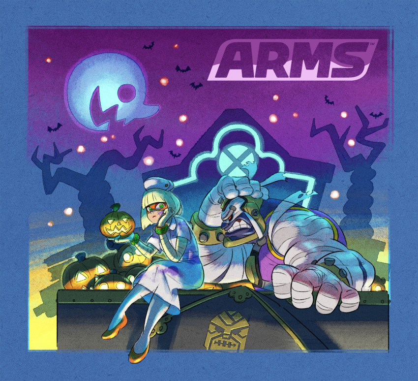 1boy 1girl arms_(game) bat blonde_hair domino_mask halloween halloween_costume hat highres ishikawa_masaaki jack-o'-lantern mask master_mummy_(arms) min_min_(arms) moon mummy night night_sky nintendo nurse nurse_cap official_art rooftop sitting sky tree