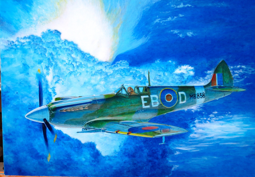 1boy absurdres acrylic_paint_(medium) aircraft airplane blue_sky calligraphy_brush_(medium) clouds commentary_request day flying goggles goggles_on_head hayashi_toshihiro helmet highres military outdoors photo sky solo spitfire_(airplane) traditional_media world_war_ii