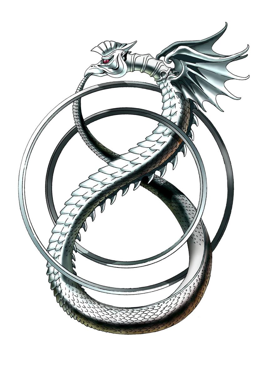 beak biting crest dragon_wings highres infinity jewelry kazuma_kaneko official_art ouroboros ouroboros_(shin_megami_tensei) ring scales shin_megami_tensei snake spines tail tail_biting white_background wings