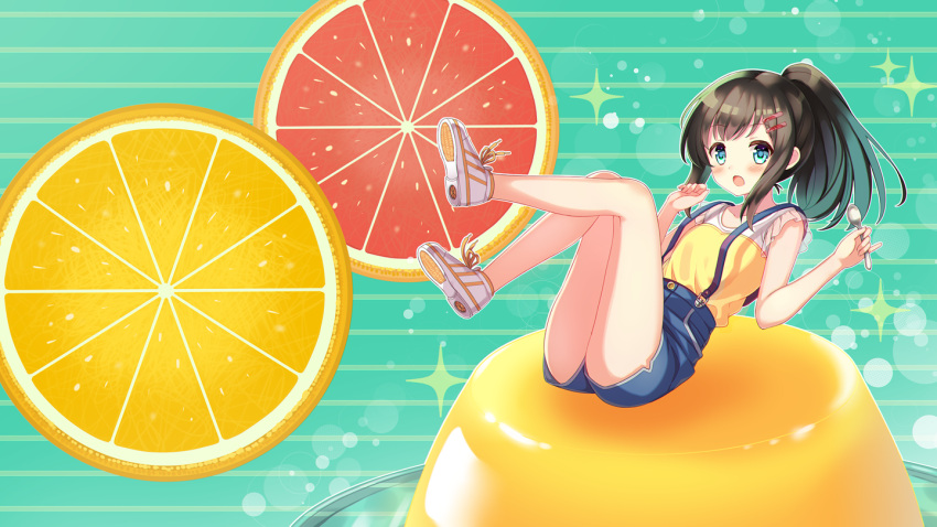 1girl :o bangs bare_arms bare_legs black_hair blue_eyes blue_skirt blush eyebrows_visible_through_hair food frilled_sleeves frills fruit full_body gradient_hair grapefruit_slice green_background green_hair hair_ornament hairclip holding holding_spoon legs legs_up lemon lemon_slice long_hair looking_at_viewer minigirl multicolored_hair no_socks open_mouth original ponytail pudding see-through shirt shoes short_sleeves sidelocks skirt sneakers solo sparkle striped striped_background suspender_skirt suspenders tareme white_footwear yatsuki_yura yellow_shirt