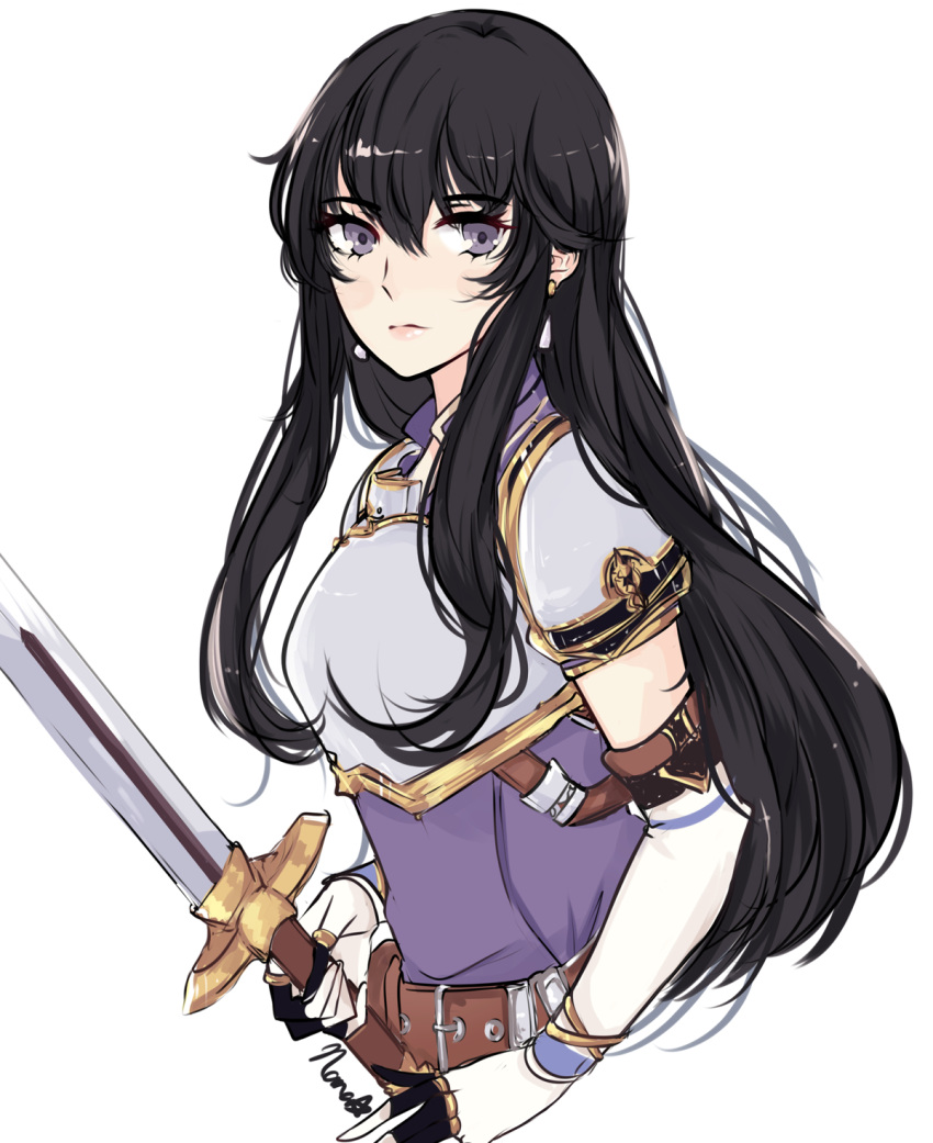 1girl aira_(fire_emblem) armor belt black_hair breastplate earrings elbow_gloves fire_emblem fire_emblem:_seisen_no_keifu gloves hair_between_eyes highres jewelry long_hair looking_at_viewer nana_(mizukas) sidelocks signature simple_background sketch solo sword upper_body violet_eyes weapon white_background white_gloves