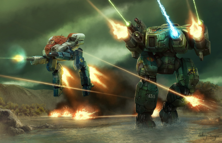 anthony_scroggins_(shimmering_sword) battle battletech clouds commentary damaged dirty dodging energy_beam energy_cannon explosion falconer_(battletech) firing gatling_gun gun jumping laser_beam mecha mountain realistic river sagittaire_(battletech) science_fiction signature tree walker water weapon