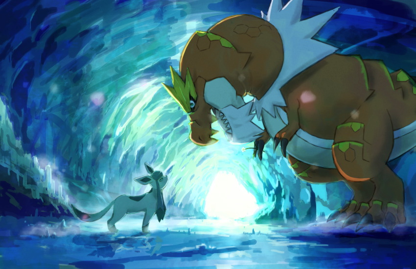 cave commentary_request day from_side glaceon highres kamemaru looking_at_another looking_down looking_up no_humans pokemon profile sharp_teeth standing teeth tyrantrum