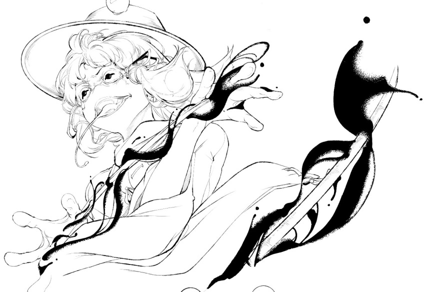 1girl commentary_request frog_eyes frog_girl greyscale hair_ribbon hat hiyuu_(flying_bear) lineart long_tongue monochrome moriya_suwako open_mouth ribbon simple_background solo tongue tongue_out touhou tress_ribbon upper_body white_background wide_sleeves