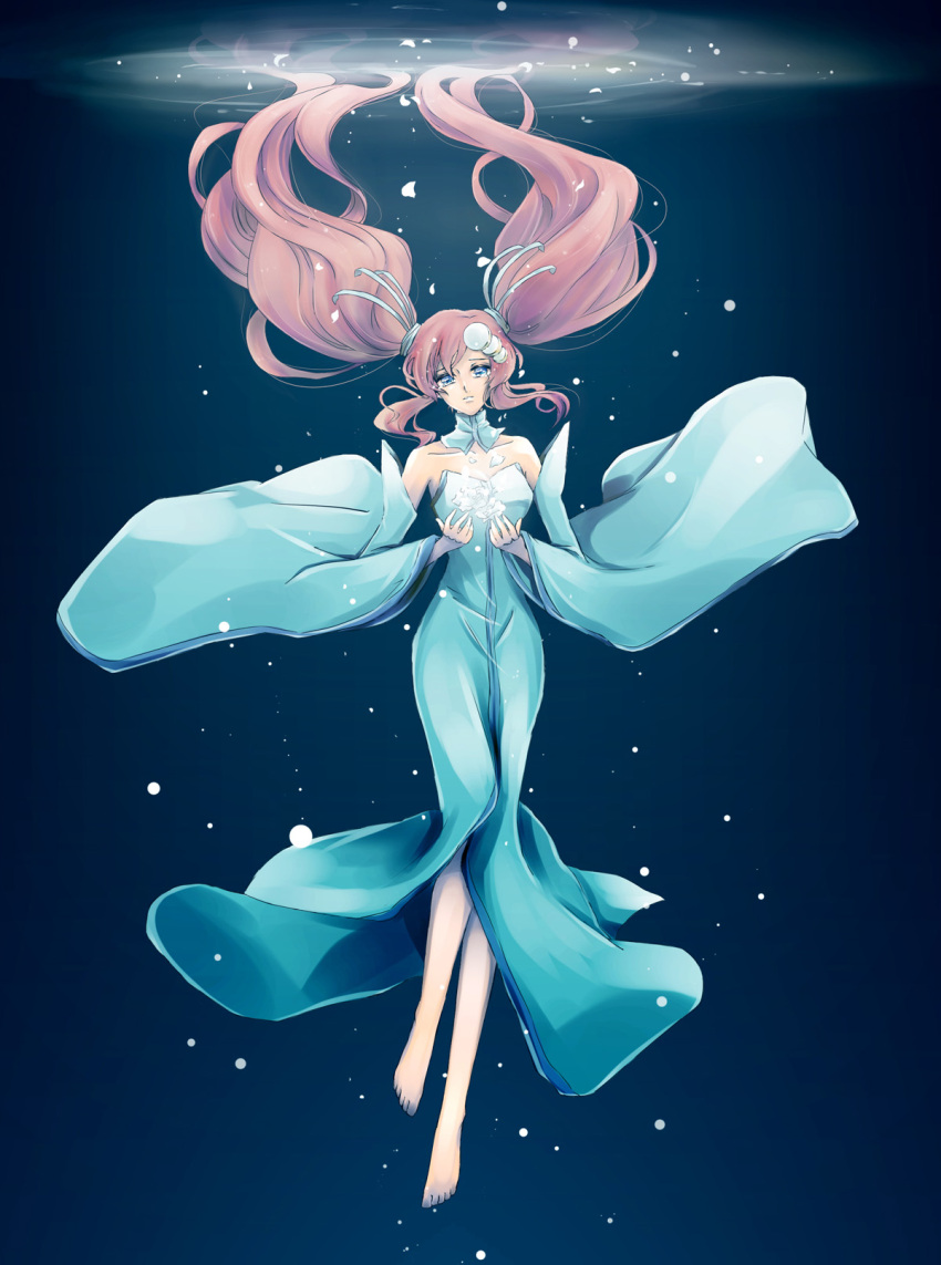 1girl barefoot blue_dress blue_eyes brown_hair bubble choker collarbone detached_sleeves dress floating_hair full_body gundam gundam_seed head_tilt highres kazuke lacus_clyne long_dress long_hair sleeveless sleeveless_dress solo striped striped_dress twintails underwater very_long_hair