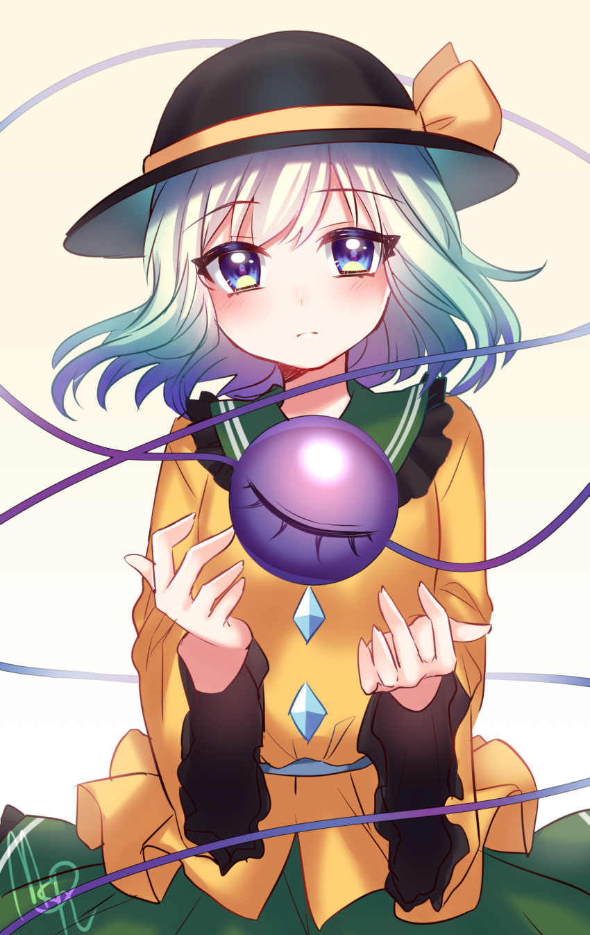 1girl bangs black_hat blouse blue_eyes cowboy_shot eyeball frilled_sleeves frills green_skirt hat hat_ribbon highres komeiji_koishi long_sleeves looking_at_viewer ribbon rom silver_hair skirt solo third_eye touhou wide_sleeves yellow_blouse