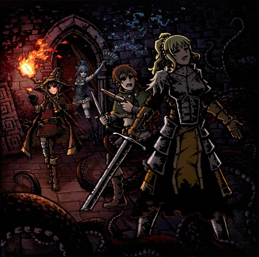 1boy 3girls aqua_(konosuba) artist_request bomb broken broken_weapon crusader_(darkest_dungeon) dagger darkest_dungeon darkness_(konosuba) dungeon empty_eyes fan gun handgun highres highwayman_(darkest_dungeon) kono_subarashii_sekai_ni_shukufuku_wo! masochism megumin multiple_girls parody pistol satou_kazuma staff style_parody tentacle weapon
