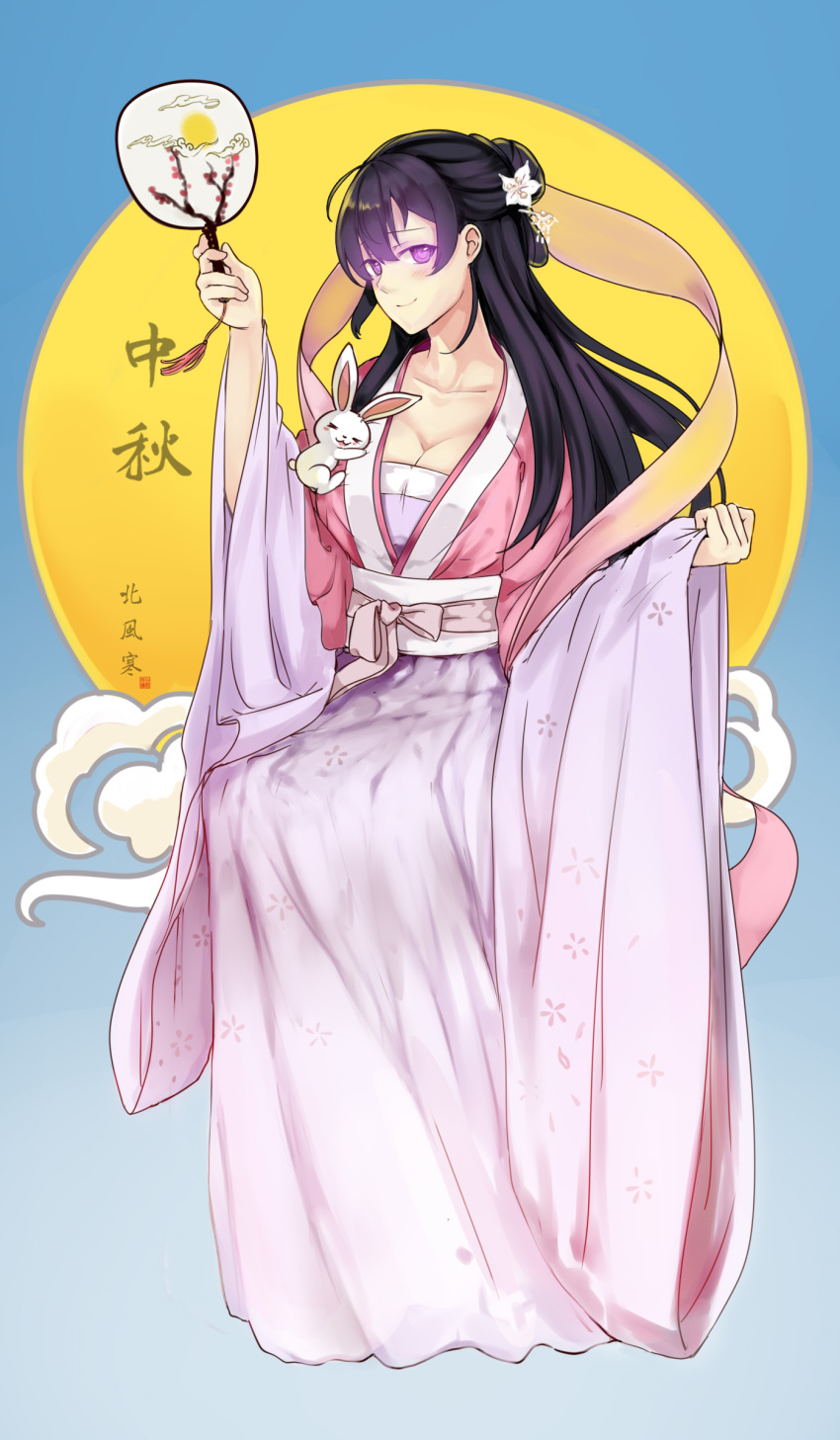1girl absurdres beifeng_han black_hair blush breasts chinese_clothes cleavage closed_mouth collarbone fan flower full_body glowing glowing_eyes hair_flower hair_ornament hanfu highres large_breasts long_hair long_sleeves looking_at_viewer mid-autumn_festival miyaura_sanshio original paper_fan pink_eyes rabbit sash smile solo uchiwa wide_sleeves