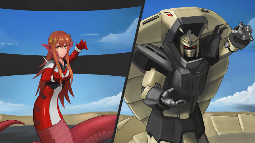 >:) 1girl absurdres animal_ears bangs blue_sky breasts closed_mouth clouds cobra_(animal) crossover formal g_gundam gloves gundam hair_ornament helmet highres lamia large_breasts long_hair looking_at_viewer mecha miia_(monster_musume) monster_girl monster_musume_no_iru_nichijou orange_hair outdoors paintrfiend pointy_ears pose red_gloves red_suit scales serious shoulder_pads sky smile solo standing suit yellow_eyes