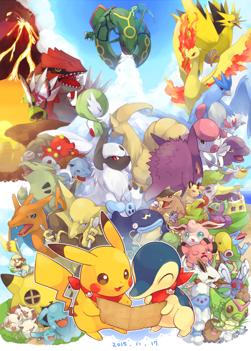 >_< :3 absol alakazam alternate_color articuno badge bandanna bellsprout blastoise blue_sky butterfree caterpie charizard cliff closed_eyes clothed_pokemon clouds commentary_request crossed_arms cyndaquil dated diglett dugtrio ekans flag frown fushigi_no_dungeon gardevoir gengar golem_(pokemon) gulpin hideko_(l33l3b) highres holding jumpluff kangaskhan kecleon lombre looking_at_viewer looking_away magnemite mankey map medicham moltres ninetales nuzleaf octillery open_mouth pelipper persian pikachu pokemon pokemon_fushigi_no_dungeon rayquaza shiftry skarmory sky smeargle snubbull sun volcano whiscash wigglytuff wobbuffet wynaut xatu zapdos