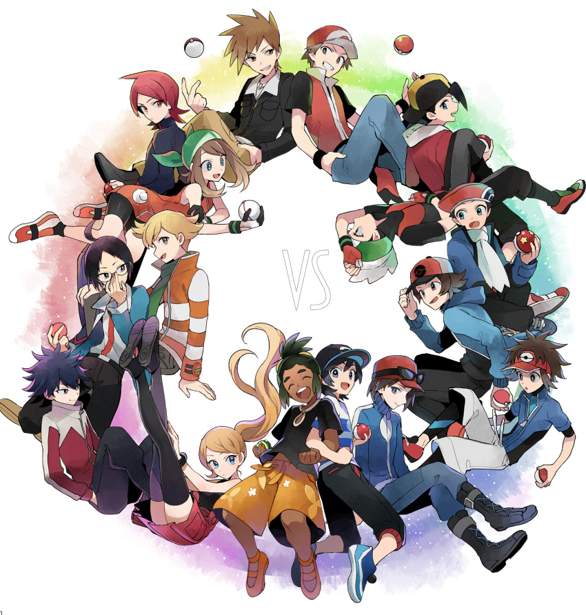 2girls 6+boys ahoge backpack backwards_hat bag bangs baseball_cap bike_shorts black_hair black_hat blonde_hair brown_hair calme_(pokemon) cheren_(pokemon) dark_skin dark_skinned_male eyebrows_visible_through_hair eyewear_on_head glasses gold_(pokemon) green_hair hair_between_eyes haruka_(pokemon) haruka_(pokemon)_(remake) hat hau_(pokemon) highres hue_(pokemon) jacket jun_(pokemon) kouki_(pokemon) kyouhei_(pokemon) long_hair multiple_boys multiple_girls ookido_green open_mouth pokemon pokemon_(game) pokemon_bw pokemon_bw2 pokemon_dppt pokemon_frlg pokemon_hgss pokemon_oras pokemon_sm pokemon_xy red_(pokemon) red_(pokemon)_(remake) redhead ribbon scarf serena_(pokemon) shirt short_hair short_ponytail shorts silver_(pokemon) sleeveless smile striped striped_shirt swept_bangs t-shirt touya_(pokemon) twintails you_(pokemon_sm) yukin_(es)