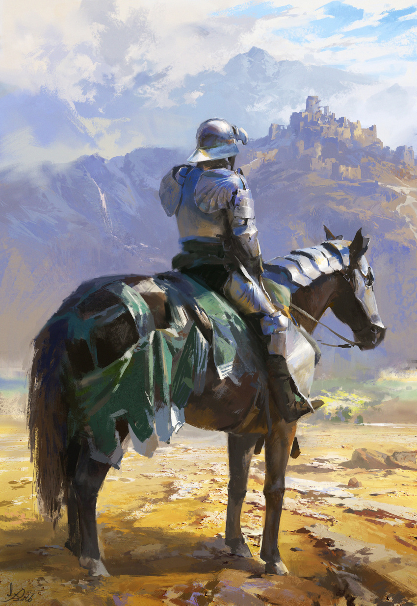 1boy armor blue_sky breastplate castle clouds cloudy_sky day facing_away from_behind full_armor gauntlets greaves helmet highres horseback_riding knight ling_xiang original outdoors plate_armor reins riding saddle signature sitting sky solo spaulders visor_(armor)