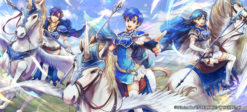3girls armor belt blue_eyes blue_hair blue_sky boots breastplate cape circlet clouds commentary company_connection copyright_name day dress elbow_gloves feathers fire_emblem fire_emblem:_fuuin_no_tsurugi fire_emblem_cipher gloves highres holding holding_weapon horn horseback_riding jewelry looking_at_viewer multiple_girls outdoors pegasus pegasus_knight polearm riding shiny short_dress short_sleeves shoulder_pads sky smile tate thany thigh-highs thigh_boots wadadot_lv weapon white_boots white_dress wings yuno_(fire_emblem)