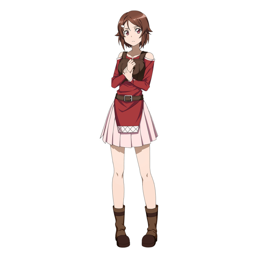 1girl bare_shoulders boots brown_footwear full_body hair_ornament hairclip highres holding_own_wrist lisbeth looking_at_viewer official_art pigeon-toed short_hair solo sword_art_online sword_art_online:_memory_defrag transparent_background