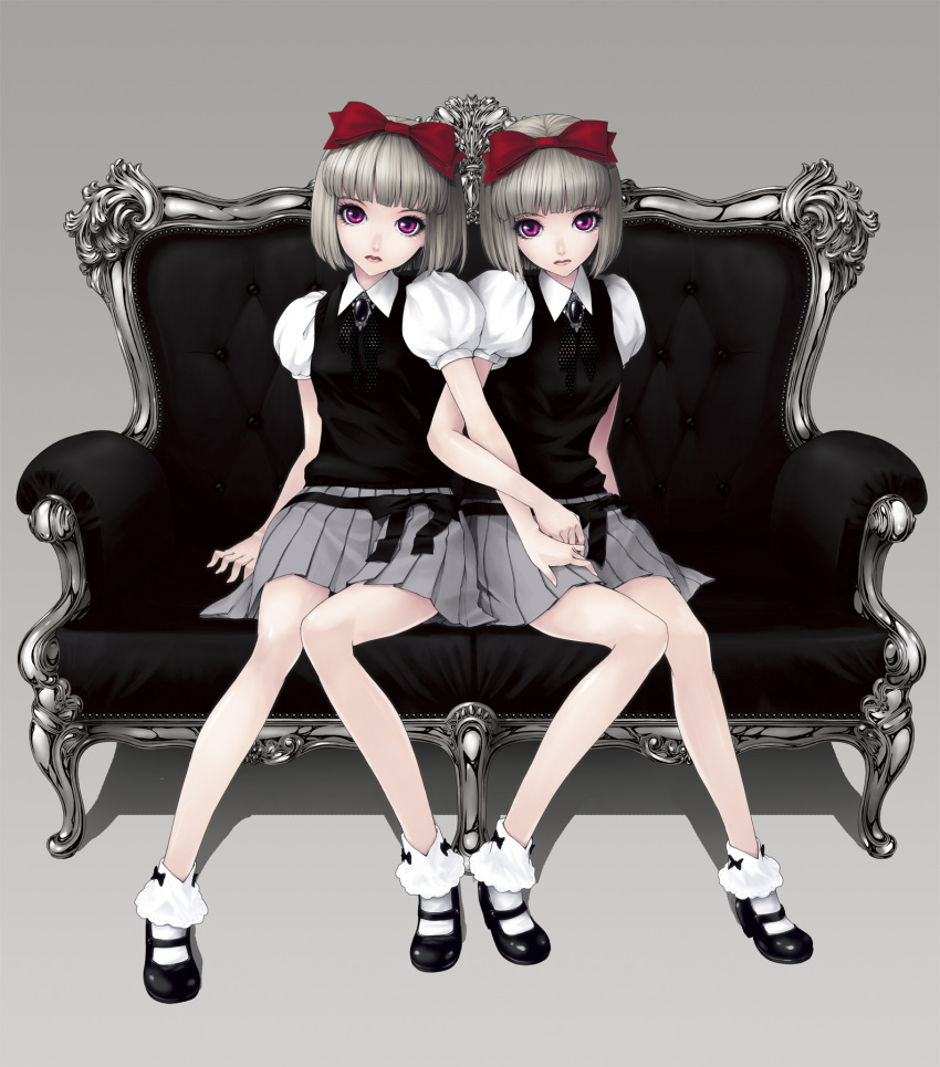 couch creepy gothic gothic_lolita grey_hair highres kunishige_keiichi legs loli lolita_fashion multiple_girls original red_eyes short_hair siblings sisters sitting twins