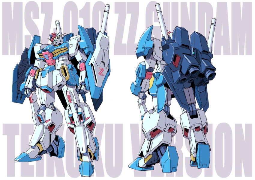gundam gundam_zz highres mecha simple_background teikoku_jokyoku white_background zz_gundam
