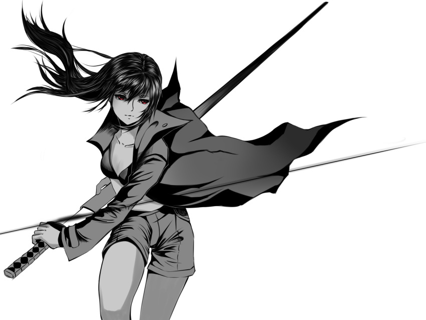 1girl absurdres bangs battoujutsu_stance bent_knee bra breasts cleavage coat collarbone cowboy_shot fighting_stance flowing_hair highres holding holding_weapon katana long_hair long_sleeves looking_away monochrome negative_space original partially_colored realistic red_flowers same-hada saya_(scabbard) short_shorts shorts sidelocks standing sword tsuba_(guard) tsuka-ito tsuka_(handle) underwear weapon
