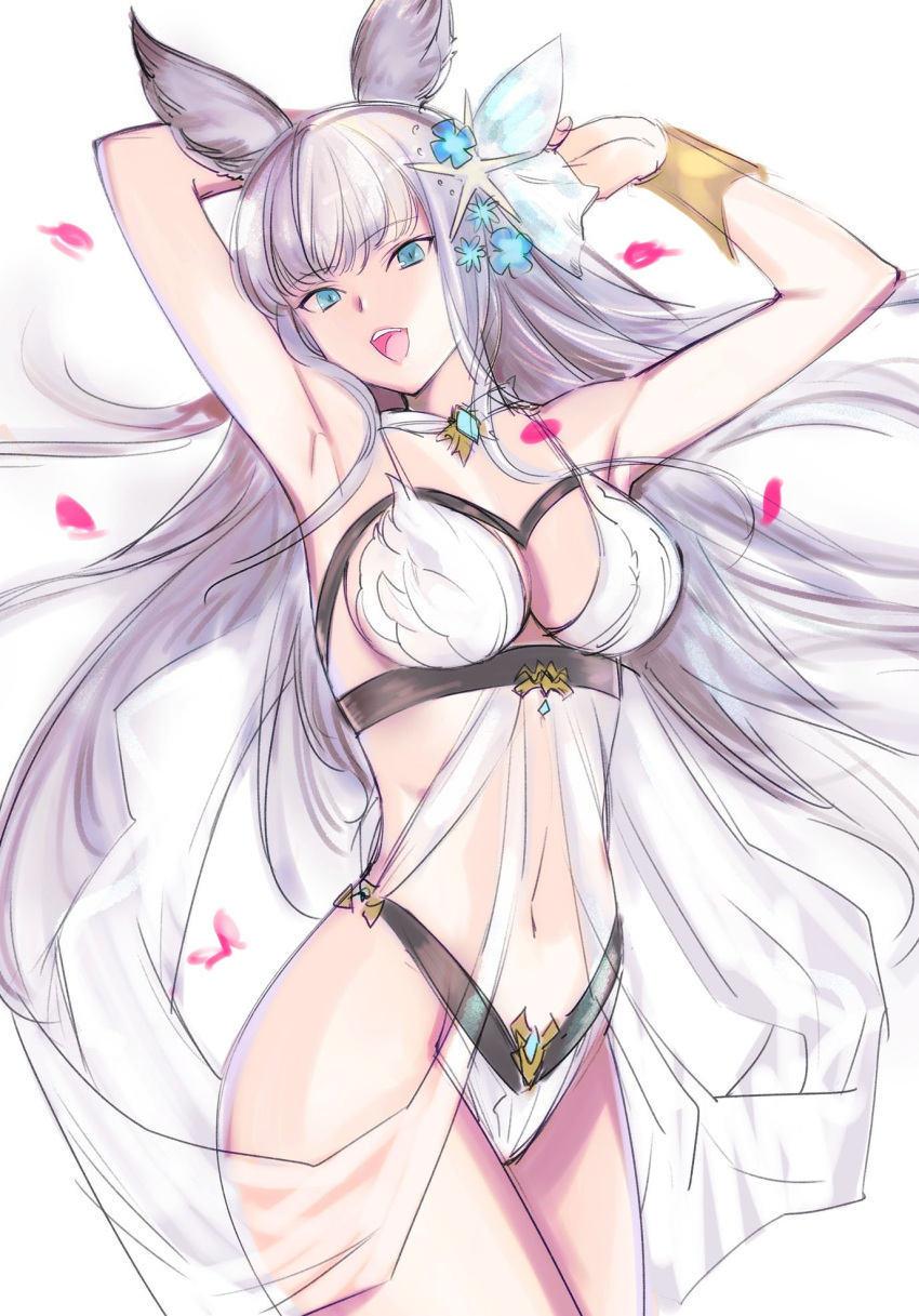 1girl :d animal_ears armpits blue_eyes bra bracer breasts cowboy_shot erun_(granblue_fantasy) eyebrows_visible_through_hair granblue_fantasy hair_ornament hands_up highres korwa long_hair looking_at_viewer medium_breasts navel open_mouth panties petals smile solo standing tetsu_(kimuchi) underwear white_background white_bra white_panties