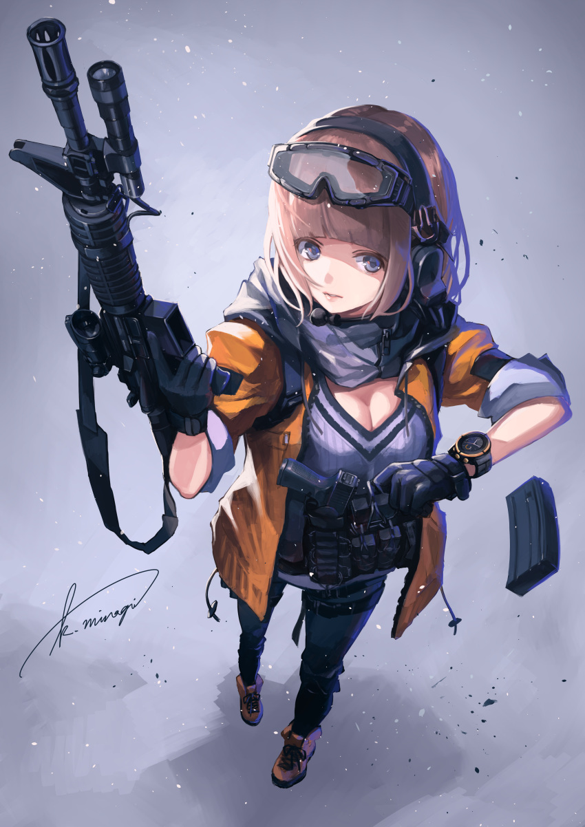 1girl absurdres assault_rifle blue_eyes breasts brown_hair cleavage foreshortening from_above gloves goggles goggles_on_head gun handgun headset highres koh_(minagi_kou) m4_carbine magazine_(weapon) original rifle scarf solo standing watch watch weapon