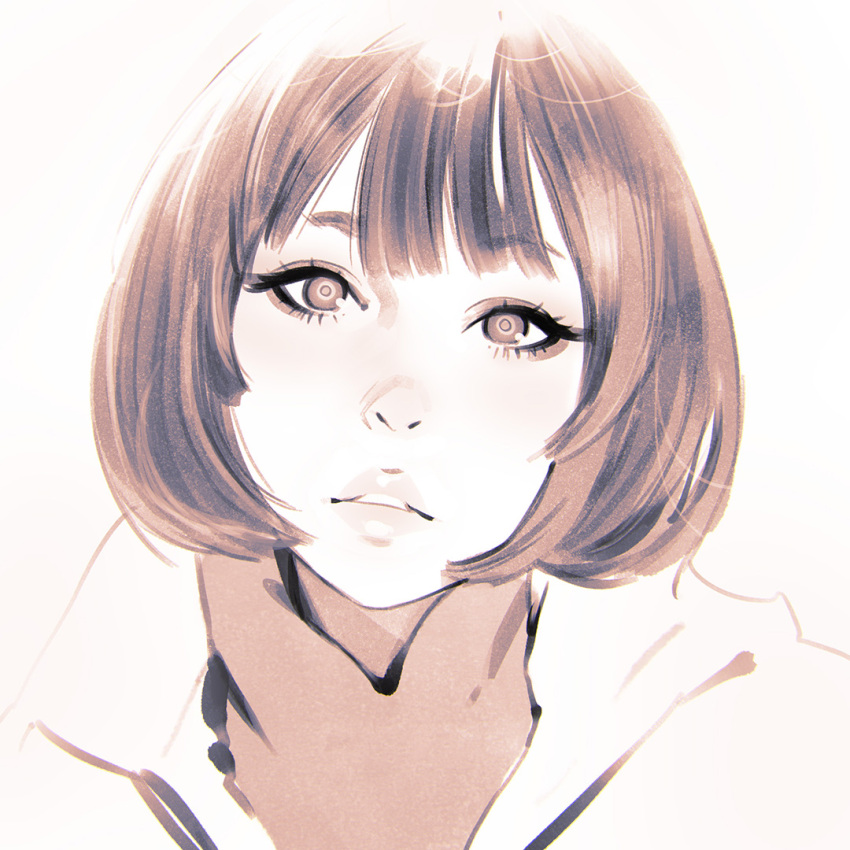 1girl close-up ilya_kuvshinov looking_at_viewer monochrome original parted_lips short_hair simple_background solo turtleneck upper_body