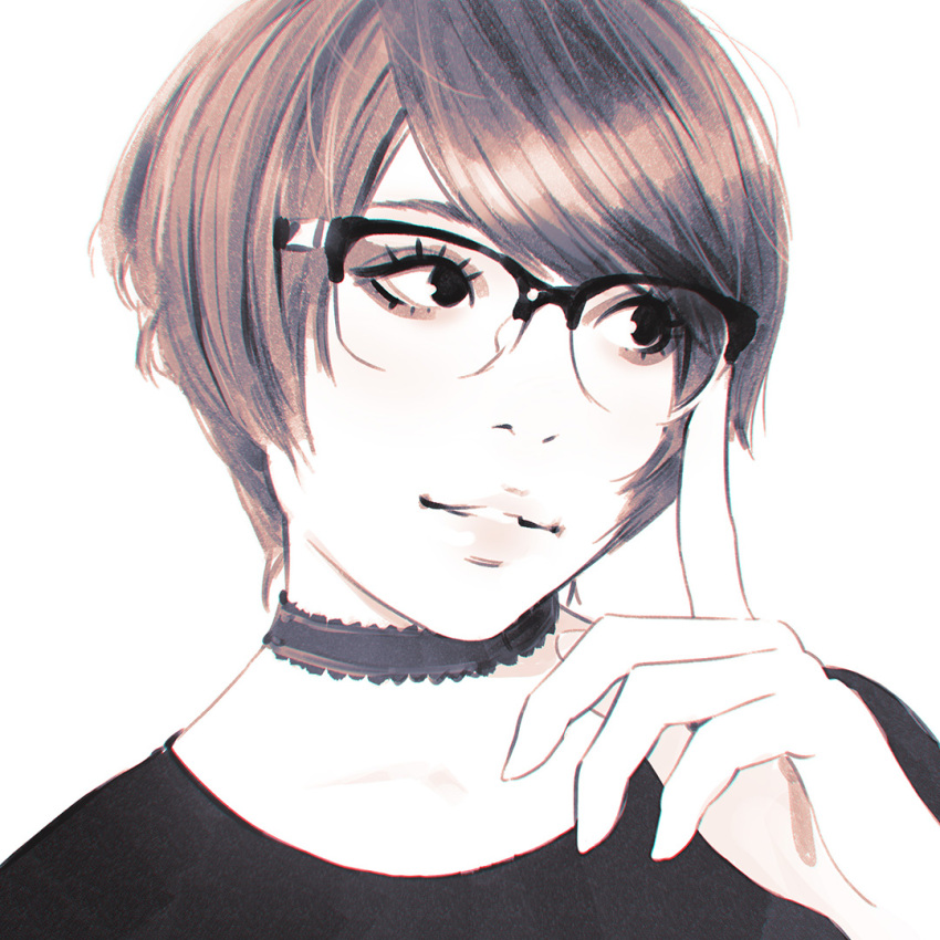 1girl bangs choker close-up ilya_kuvshinov monochrome original parted_lips semi-rimless_eyewear short_hair simple_background solo swept_bangs