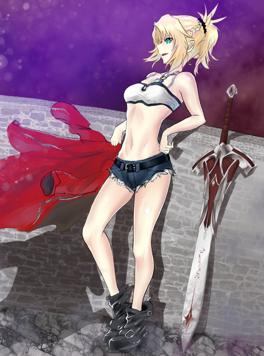 1girl abs absurdres artist_request blonde_hair boots bread breasts clarent cutoffs denim denim_shorts fate/apocrypha fate/grand_order fate_(series) food green_eyes groin highres holding_jacket jacket jacket_removed looking_at_another medium_breasts navel necktie saber_of_red shadow shorts sketch solo stone_wall sword thighs wall weapon