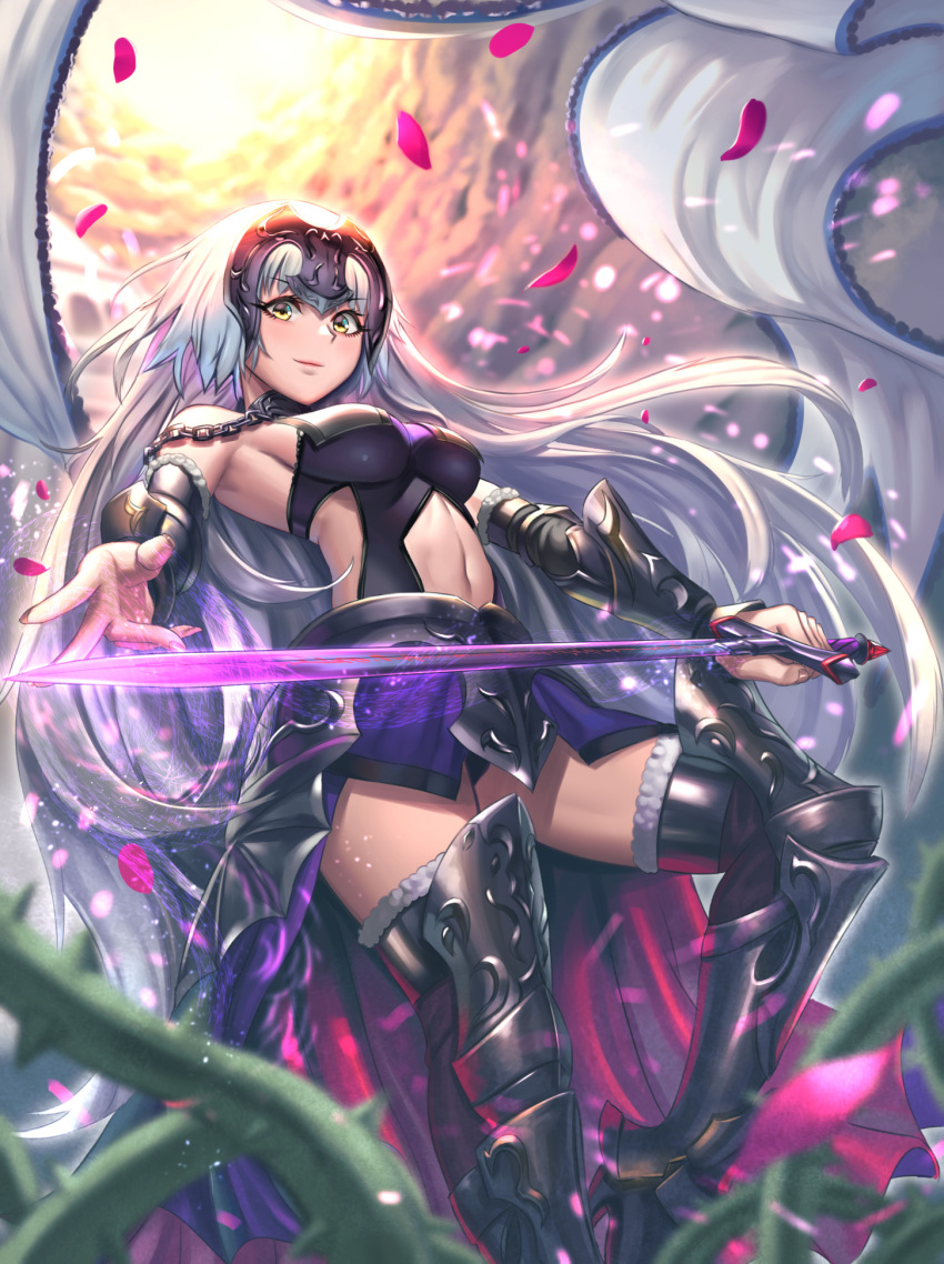 1girl arm_warmers bangs banner bare_shoulders black_armor blurry blurry_foreground breasts chains closed_mouth clouds cloudy_sky day depth_of_field eyebrows_visible_through_hair fate/grand_order fate_(series) faulds fingernails floating_hair foreshortening from_below fur-trimmed_legwear fur_trim glowing glowing_sword glowing_weapon greaves headpiece high_heels highres holding holding_sword holding_weapon jeanne_alter large_breasts light_particles long_hair looking_at_viewer magic moonandmist navel outdoors outstretched_arm petals plant ruler_(fate/apocrypha) silver_hair sky smile solo standing standing_on_one_leg sunlight sword thigh-highs thorns vambraces very_long_hair vines waist_cape weapon wind yellow_eyes