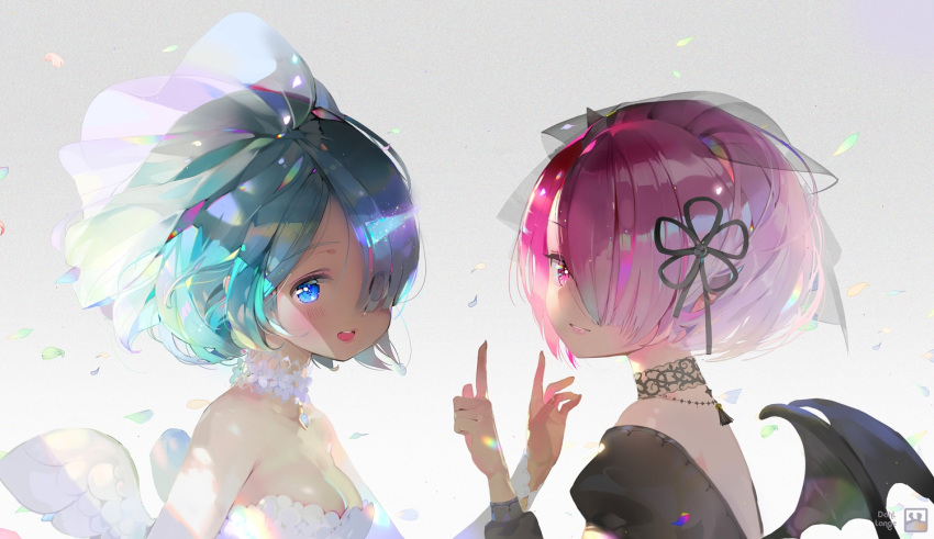 2girls :d artist_name bangs black_dress black_ribbon blue_eyes blunt_bangs blush dahl-lange demon_wings dress eyes_visible_through_hair hair_over_one_eye hair_ribbon hand_up index_finger_raised looking_at_viewer multiple_girls open_mouth parted_lips petals pink_eyes ram_(re:zero) re:zero_kara_hajimeru_isekai_seikatsu rem_(re:zero) ribbon short_hair smile tareme teeth tsurime veil white_dress wings