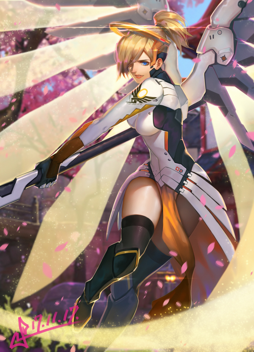 1girl absurdres adapted_costume artist_name blonde_hair blue_eyes blue_sky blurry blurry_background bodysuit breasts brown_legwear building cherry_blossoms cowboy_shot dated day emblem energy_beam faulds glowing glowing_wings greaves hair_over_one_eye high_ponytail highres holding holding_staff kneehighs looking_at_viewer mechanical_wings medium_breasts mercy_(overwatch) nose outdoors overwatch parted_lips patch pelvic_curtain petals pink_lips serious short_hair signature sky solo squidsmith staff swinging swiss_flag tree twitter_username wings yellow_wings