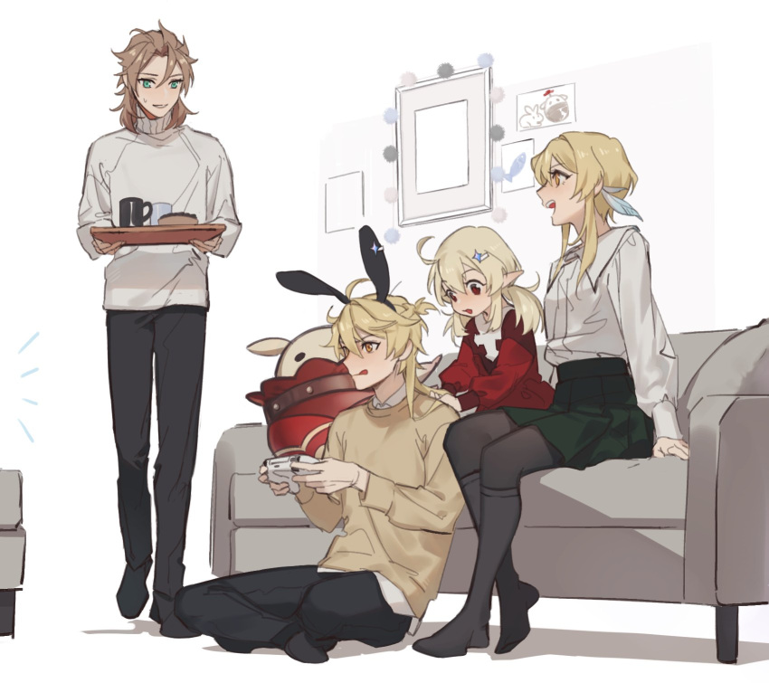 2boys 2girls :q aether_(genshin_impact) albedo_(genshin_impact) alternate_costume animal_ears bangs black_pants blonde_hair brown_hair casual controller couch crossed_legs dress fake_animal_ears game_controller genshin_impact green_skirt hair_ornament highres holding indoors jumpy_dumpty k_young03 klee_(genshin_impact) long_sleeves low_twintails lumine_(genshin_impact) multiple_boys multiple_girls on_floor open_mouth pants playing_games pointy_ears rabbit_ears red_dress red_eyes shirt short_hair_with_long_locks sitting skirt standing sweater tongue tongue_out tray turtleneck turtleneck_sweater twintails yellow_eyes