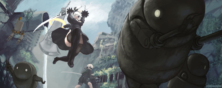 1boy 1girl absurdres battle battoujutsu_stance black_dress black_footwear black_legwear blindfold breasts cleavage cleavage_cutout commentary covered_eyes dress drone dude_underscore feather-trimmed_sleeves fighting_stance floating_swords highres holding holding_weapon huge_weapon katana long_sleeves medium_breasts nier_(series) nier_automata pod_(nier_automata) robot ruins solo_focus sword sword_on_back thighhighs_under_boots weapon white_hair yorha_no._2_type_b yorha_no._9_type_s