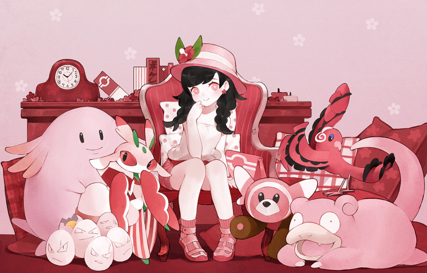 1girl arm_at_side armchair baiguiyu bangs bare_arms bare_legs bare_shoulders bird black_hair blush book braid bright_pupils chair chansey clock closed_mouth earrings egg exeggcute fangs fedora floral_background flower flower_earrings full_body hair_flower hair_ornament hand_to_own_face hat jewelry long_hair lurantis lying mizuki_(pokemon_ultra_sm) on_stomach open_mouth oricorio pigeon-toed pillow pink pink_background pink_footwear pink_hair pink_hat pink_legwear pink_shorts pokemon pokemon_(creature) pokemon_(game) pokemon_ultra_sm sanpaku shelf shirt shoes short_shorts shorts sitting sleeveless sleeveless_shirt slowpoke smile socks standing stufful swept_bangs tareme twin_braids white_shirt