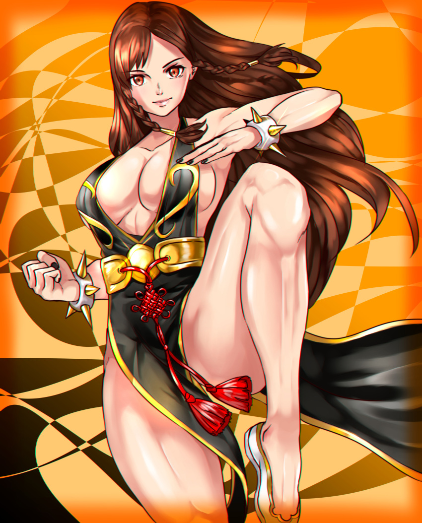 >:) 1girl absurdres bracelet braid breasts brown_eyes brown_hair china_dress chinese_clothes chun-li closed_mouth collarbone cowboy_shot dress fighting_stance highres jewelry kisaragi_(legobionicle23) large_breasts leg_up long_hair looking_at_viewer pelvic_curtain sideboob smile solo spiked_bracelet spikes street_fighter street_fighter_v thighs twin_braids v-shaped_eyebrows