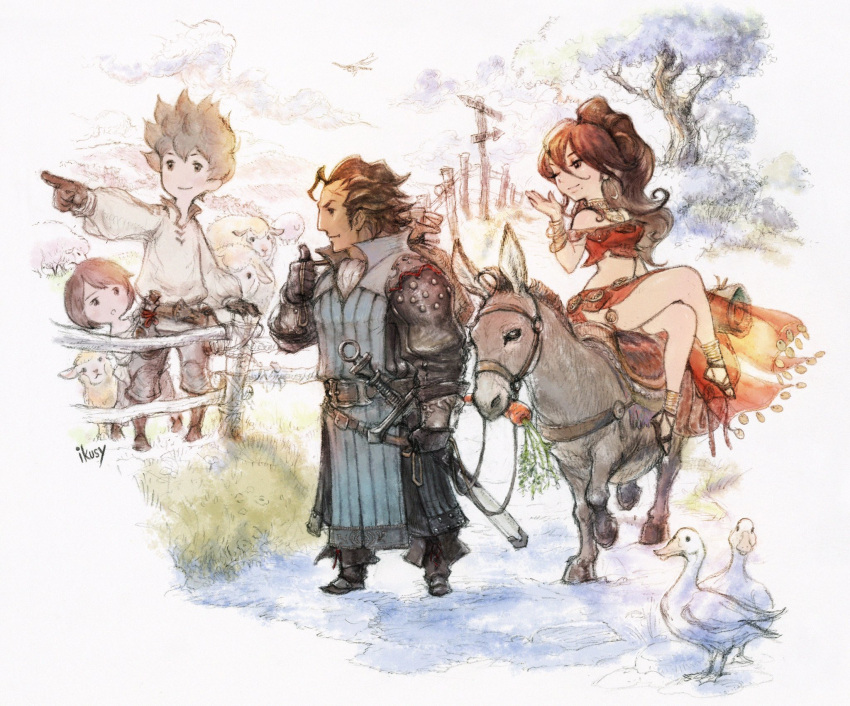 4boys 4girls bird bravely_default:_flying_fairy bravely_default_(series) brown_hair company_connection creator_connection crossover dragonfly duck everyone fence highres insect mole mole_under_mouth multiple_boys multiple_girls official_art olberic_eisenberg pointing primrose_azelhart project_octopath_traveler riding sheep smile spiky_hair square_enix tiz_oria yoshida_akihiko