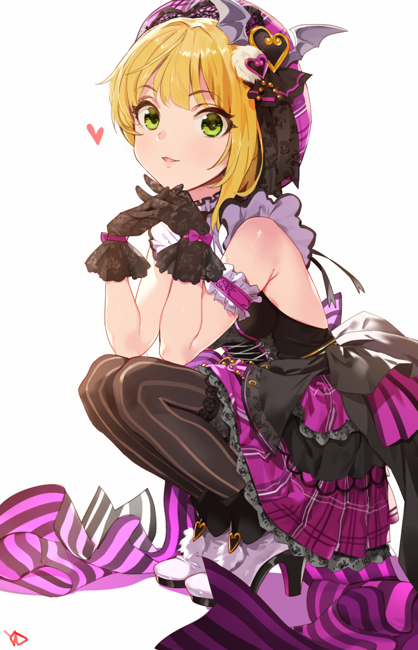 1girl absurdres arm_garter bangs bare_shoulders black_gloves blonde_hair blush boots breasts chin_rest closed_mouth commentary_request corset dress elbows_on_knees eyebrows_visible_through_hair from_side full_body gloves green_eyes hair_ornament hat heart high_heel_boots high_heels highres idolmaster idolmaster_cinderella_girls interlocked_fingers legs_together looking_at_viewer medium_breasts miyamoto_frederica open-back_dress own_hands_together pantyhose pink_hat pink_skirt short_hair signature skirt smile solo squatting yang-do