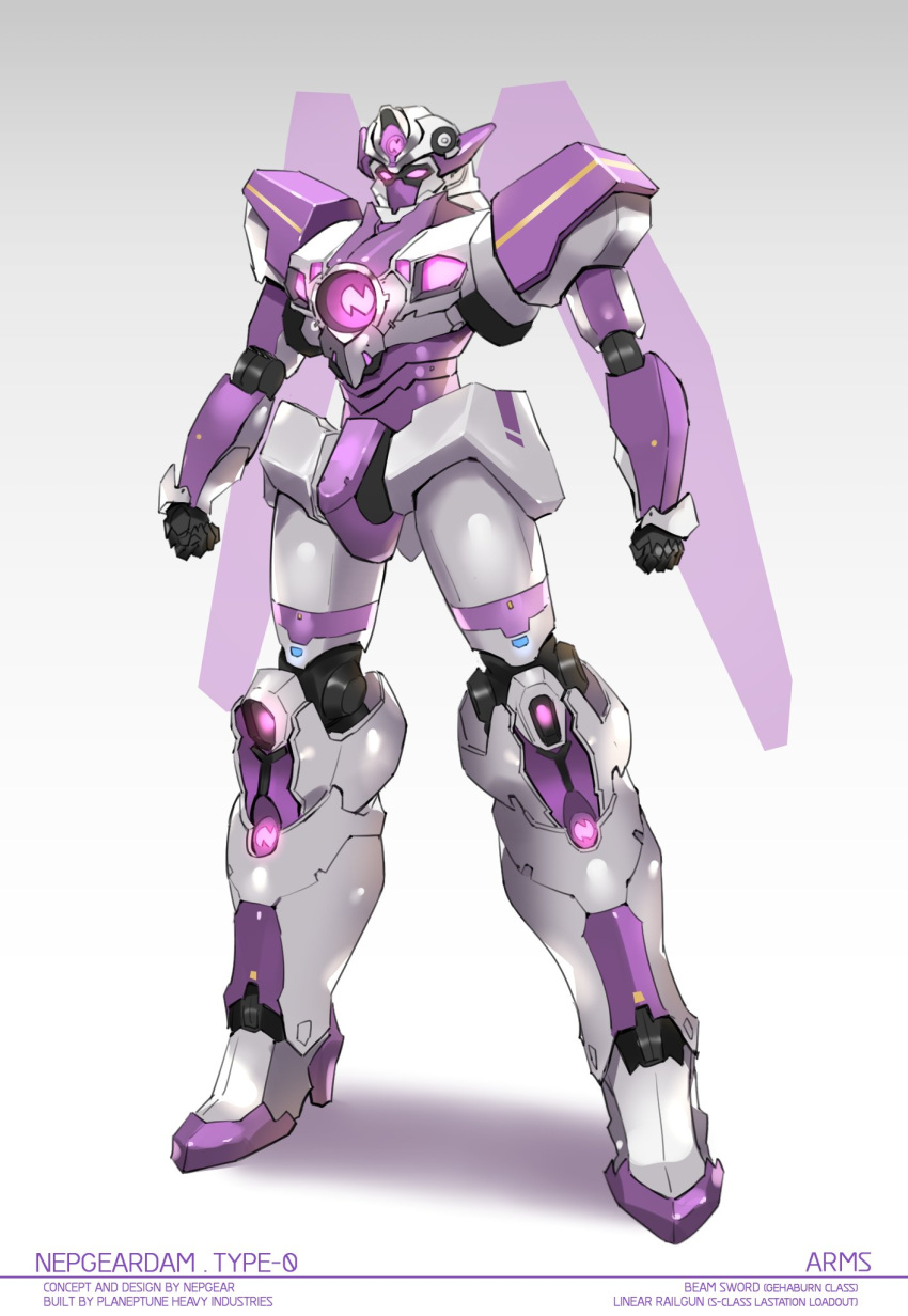 glowing glowing_eyes gundam highres mecha neptune_(series) no_humans robot sendrawz solo