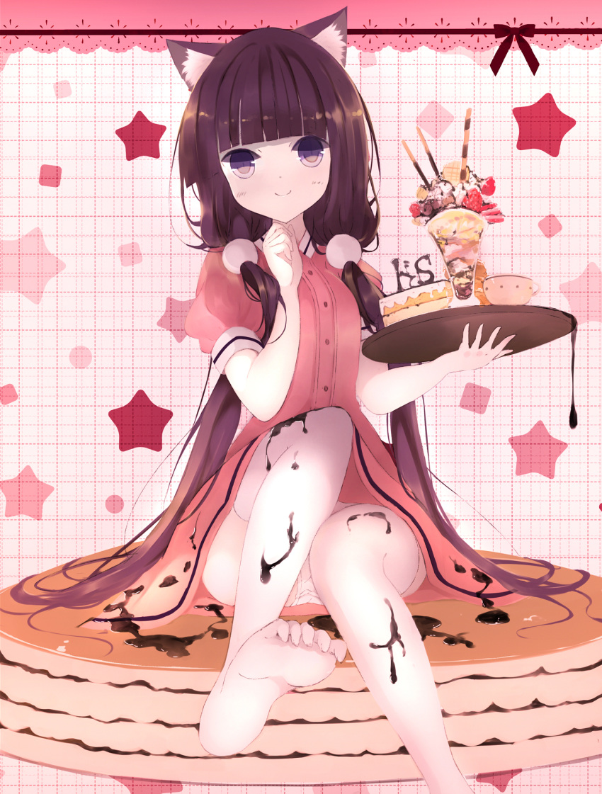 1girl animal_ears bangs blend_s blunt_bangs blush cake cat_ears closed_mouth collared_shirt commentary_request feet food food_on_clothes hair_ornament hand_up head_tilt highres holding holding_tray lace_border long_hair looking_at_viewer low_twintails no_shoes pancake panties parfait pink_background pink_shirt pink_skirt puffy_short_sleeves puffy_sleeves purple_hair sakuranomiya_maika senya_fuurin shirt short_sleeves sitting skirt slice_of_cake smile soles solo stack_of_pancakes star starry_background stile_uniform syrup thigh-highs toenails toes tray twintails underwear uniform very_long_hair violet_eyes waitress white_legwear white_panties